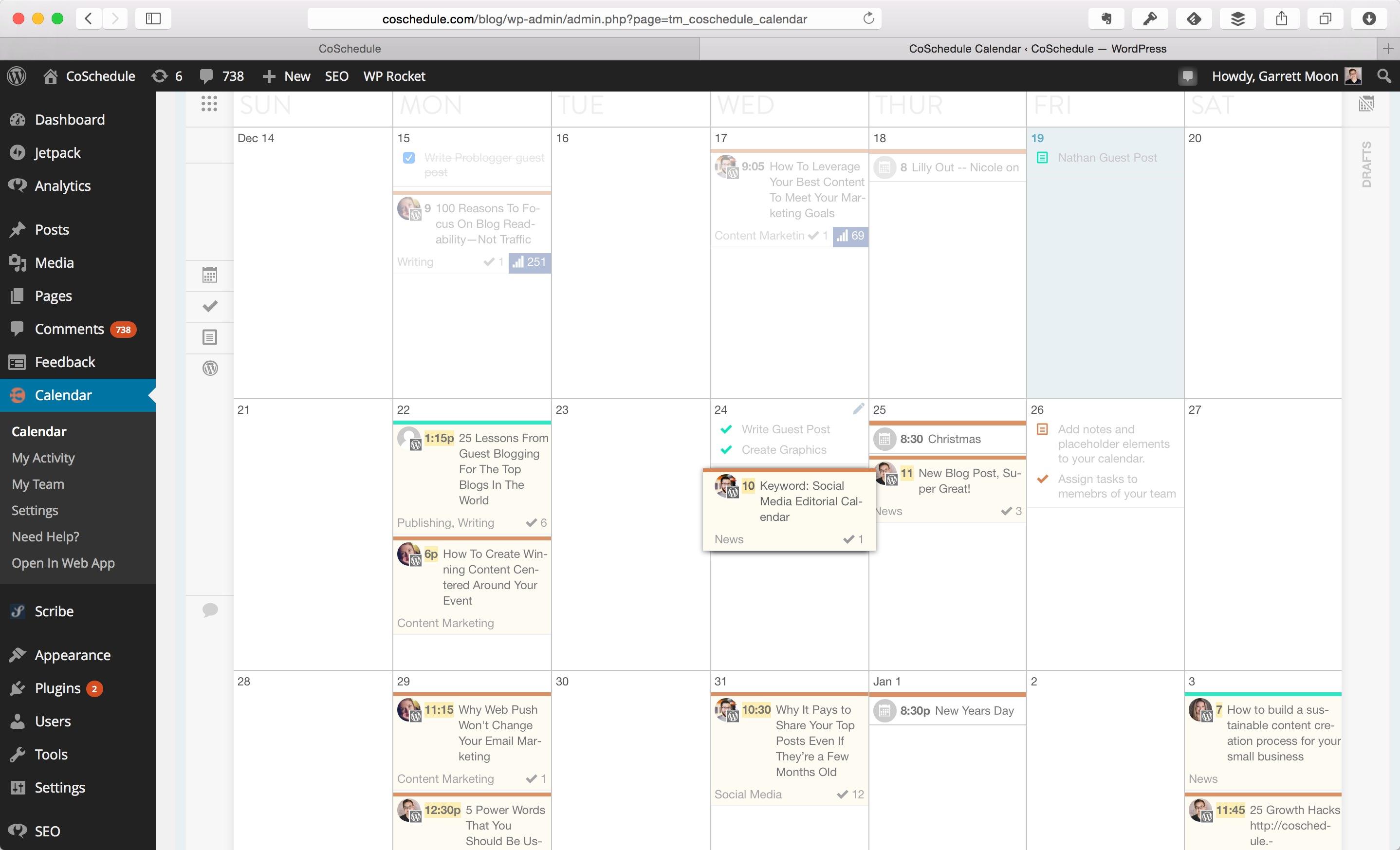 coschedule inside WordPress