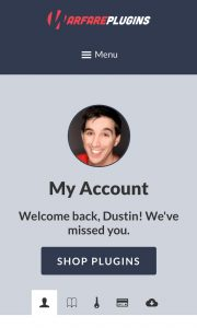 account page on mobile