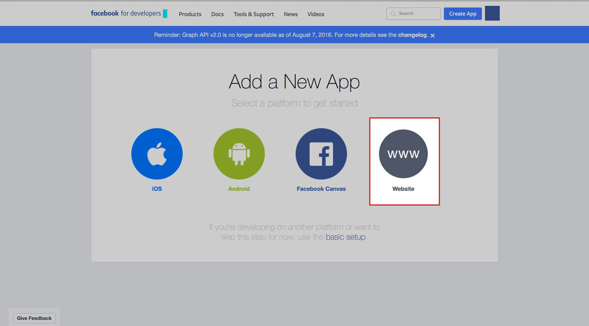facebook app choose platform