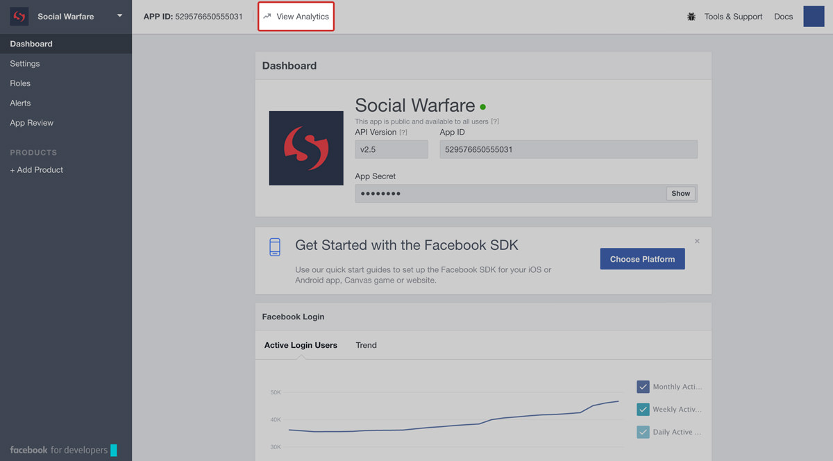 facebook app dashboard analytics link