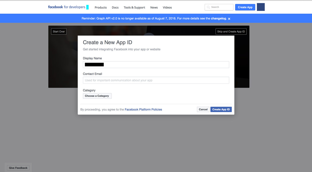 facebook app id, name, email and category