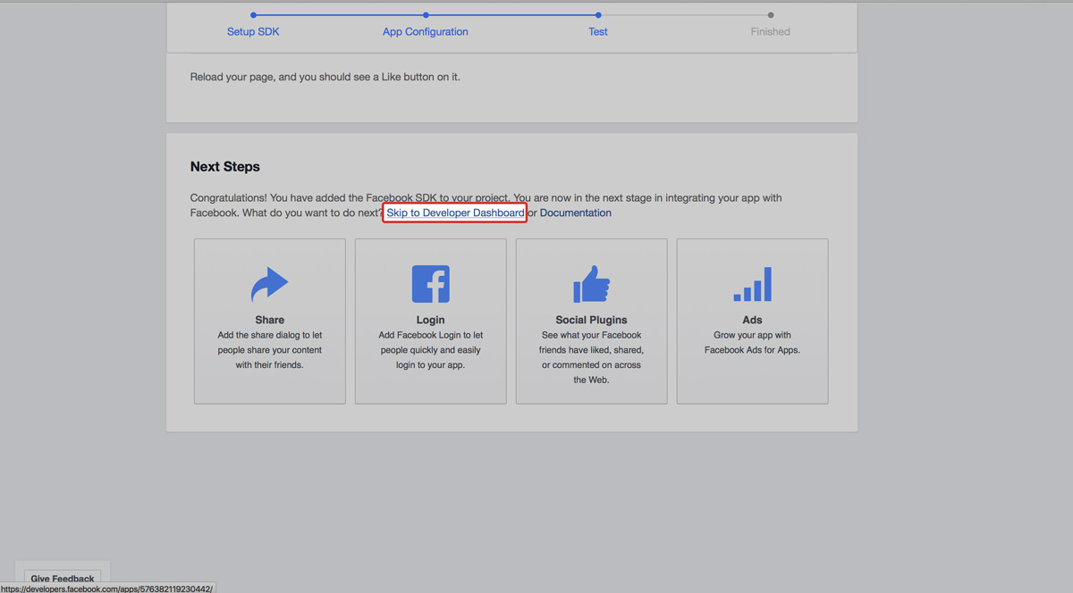 facebook app skip to dashboard