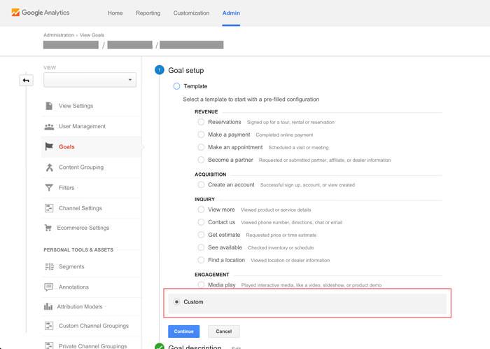 new google analytics goal step one