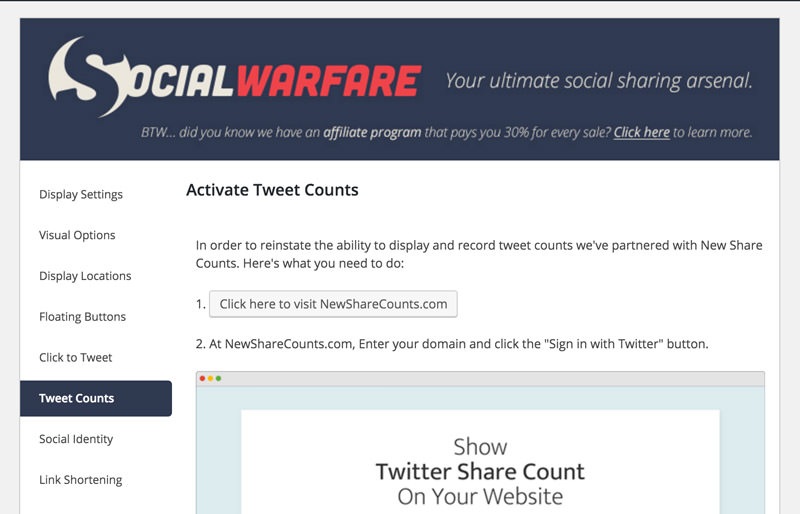 how to activate twitter tweet counts