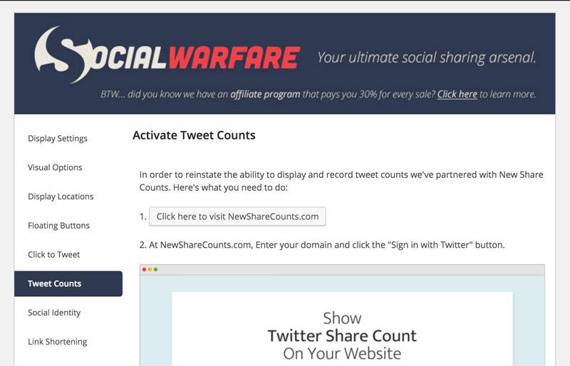 how to activate twitter tweet counts