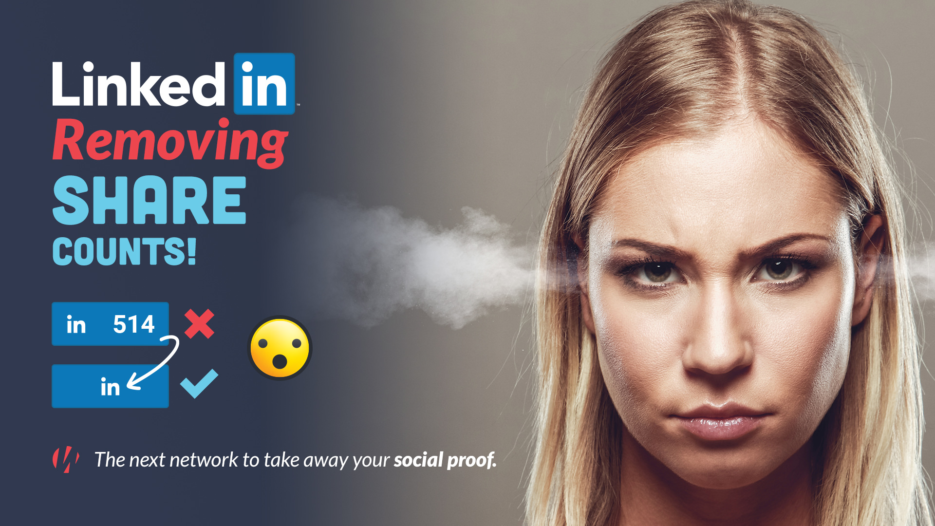 angry woman and LinkedIn Share Buttons losing counts