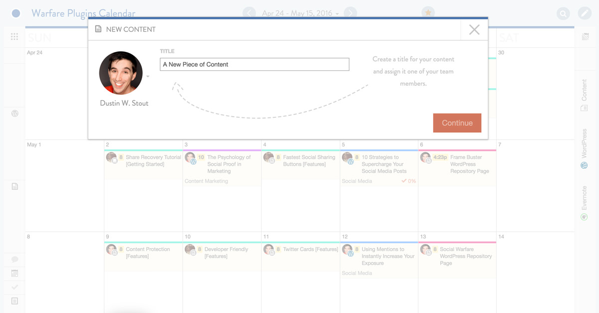 new piece of content in coschedule