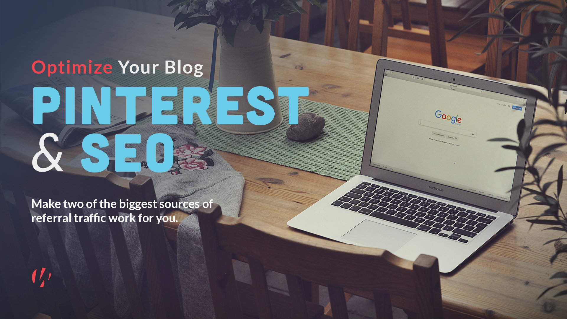 Pinterest and SEO with laptop in background