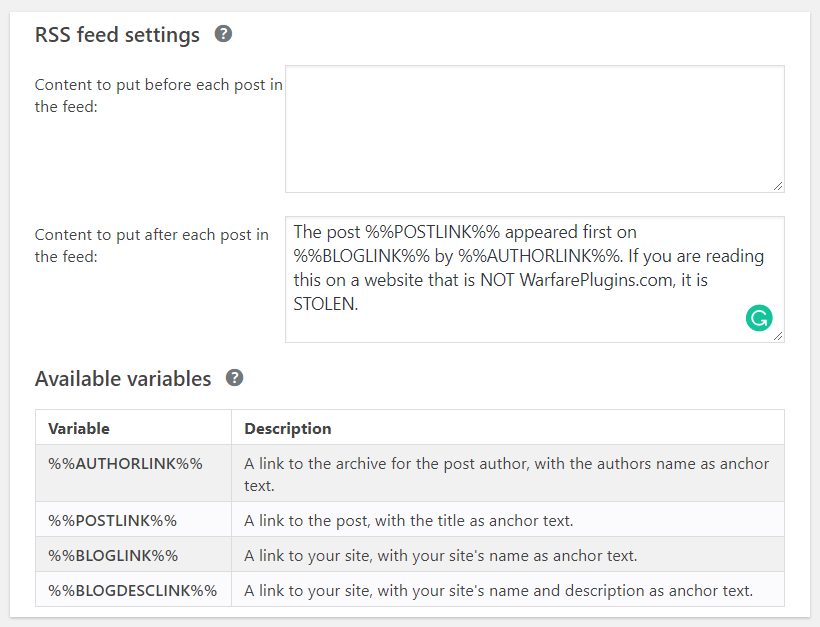 RSS settings in yoast