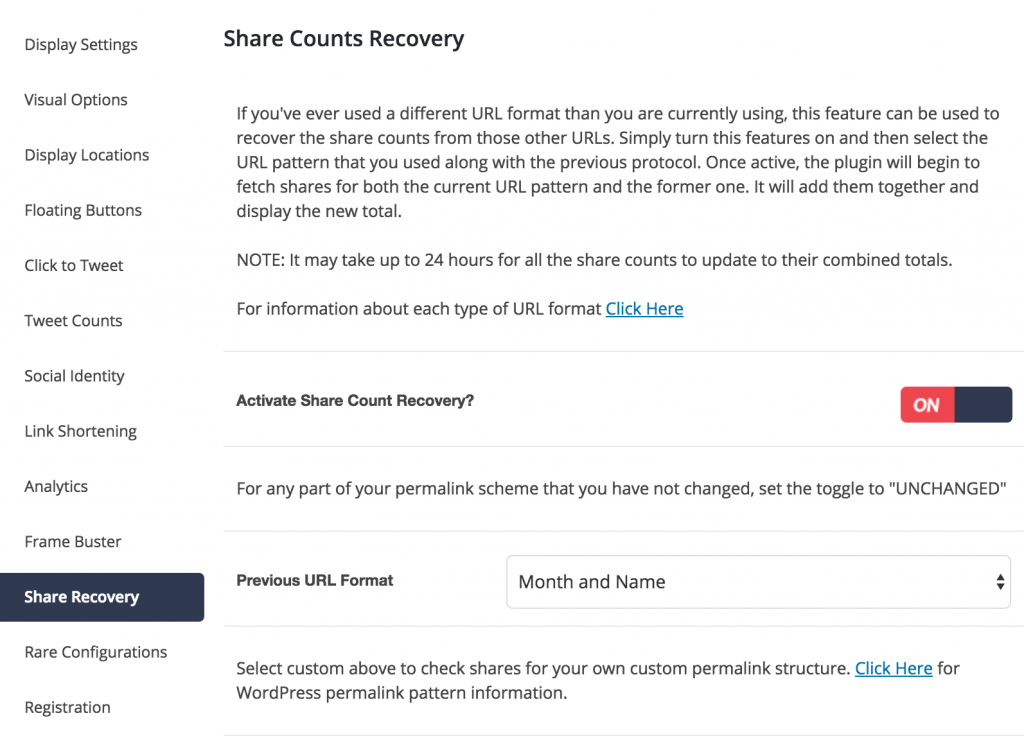 Social Warfare Share Recovery tab screenshot
