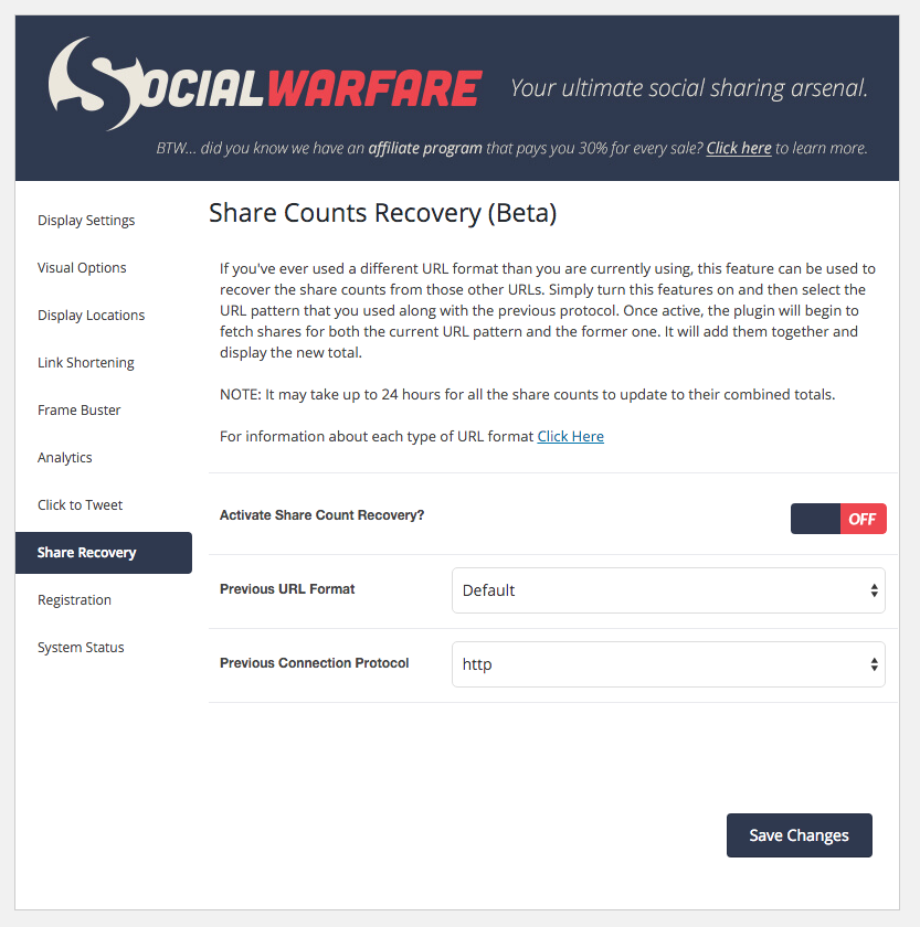 social share count recover tool