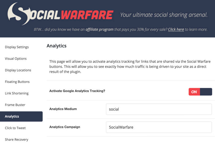 social warfare analytics tracking
