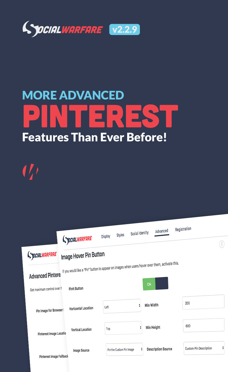 The most powerful social sharing plugin just got even better at optimizing your blog posts and pages for Pinterest! Get even more out of people pinning your posts with greater control than ever!