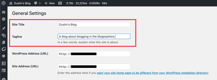 wordpress general settings - title and tagline screenshot