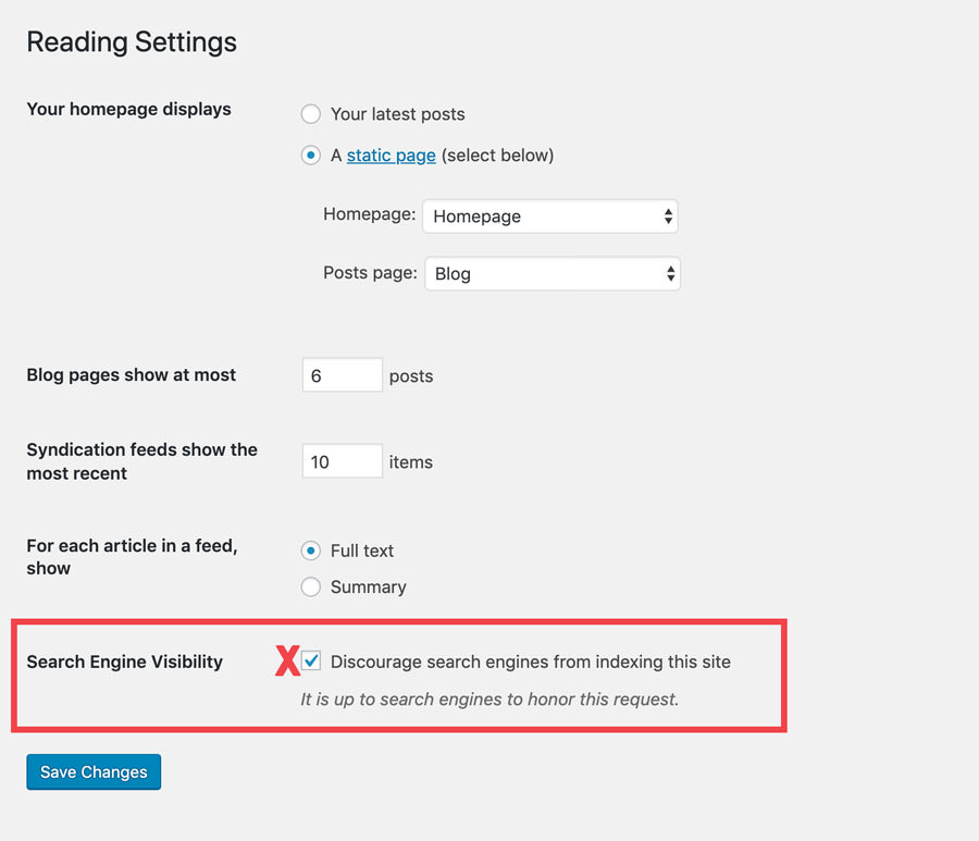 wordpress reading settings - discourage search engines screenshot