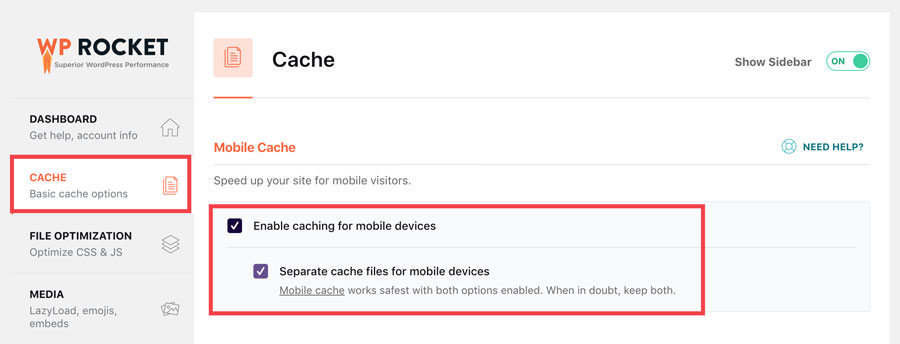 wp rocket setup - mobile cache options screenshot